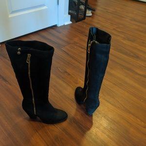 ALDO Black Suede Chunky Heel Knee High Boots